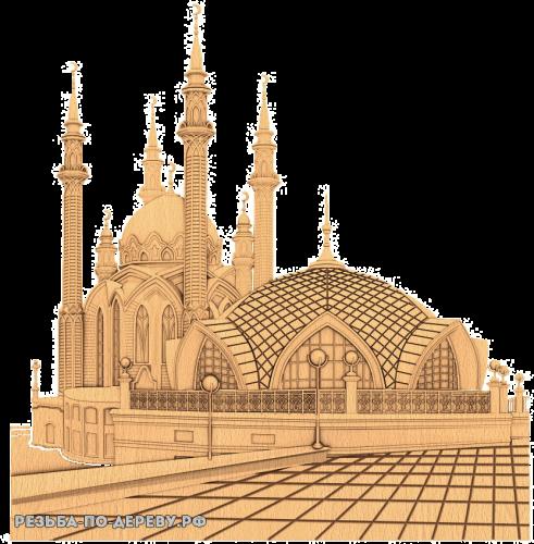 Резное панно Мечеть Кул-Шариф из дерева