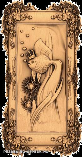 Резное панно Золотая рыбка №2 из дерева