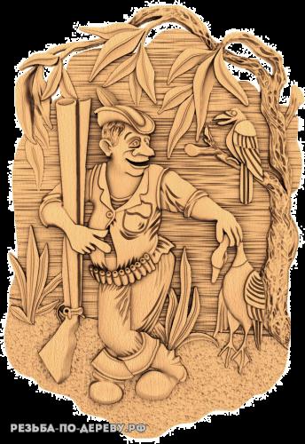 Резное панно Охотник №3 из дерева
