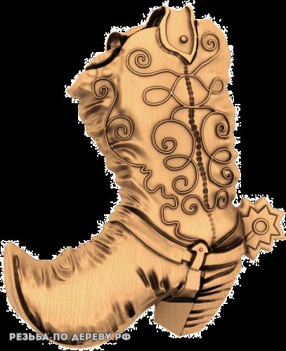 Резное панно Сапог из дерева