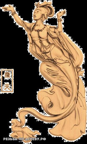 Резное панно Японская дама из дерева