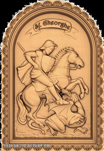 Резное панно Георгий Победоносец №7 из дерева
