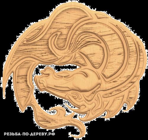 Резное панно Дракон №4 из дерева