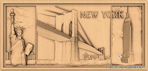 Резное панно New York из дерева