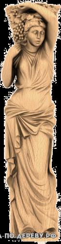 Резное панно Девушка с виноградом из дерева