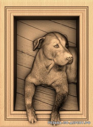 Резное панно Собака №5 из дерева