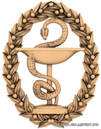 Резное панно Змея в чаше из дерева