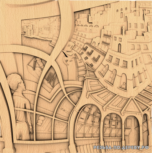 Резное панно Город из окна из дерева