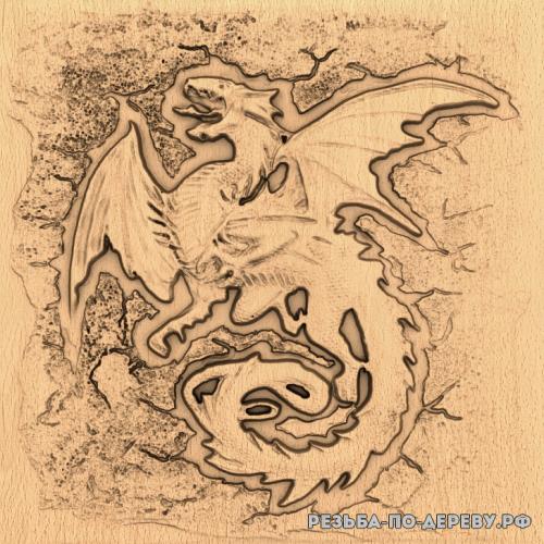 Резное панно Дракон злой из дерева