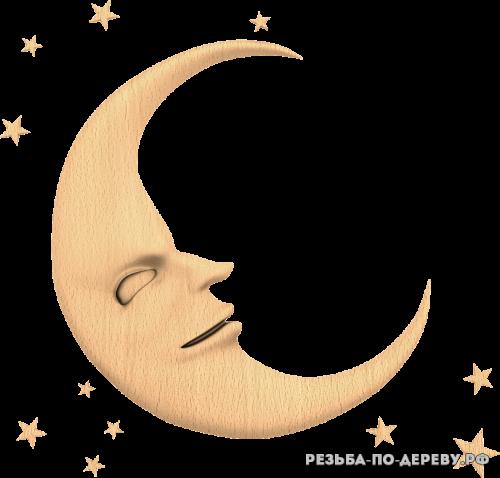 Месяц (луна) №2 из дерева