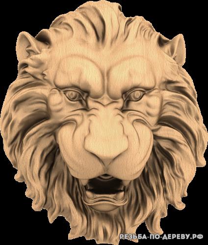 Голова льва №12 из дерева