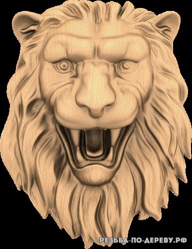 Голова льва №13 из дерева