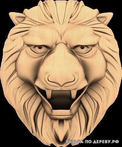 Голова льва №14 из дерева