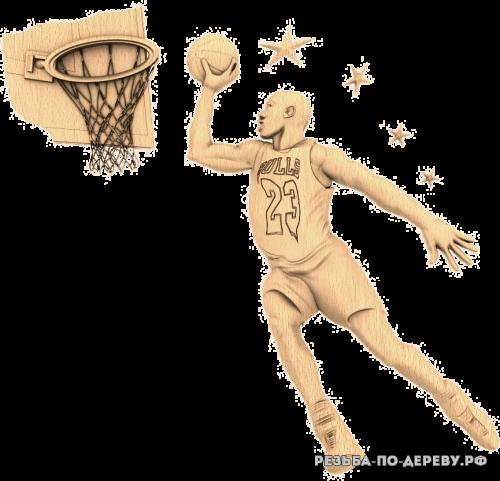 Резное панно Баскетболист из дерева