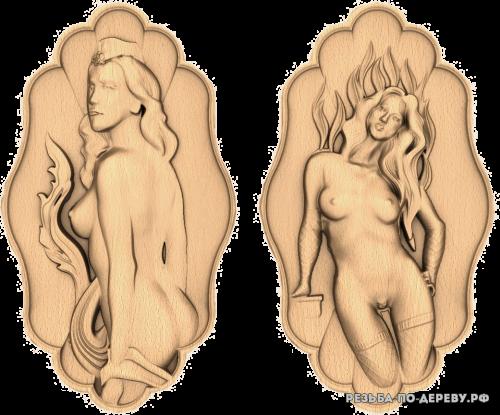 Резное панно Девушка (28) из дерева