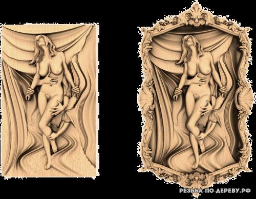 Резное панно Девушка (29) из дерева