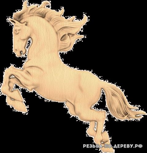 Резное панно Конь из дерева