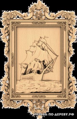 Резное панно Корабль #12 из дерева
