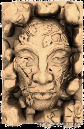 Резное панно Лицо в камнях из дерева