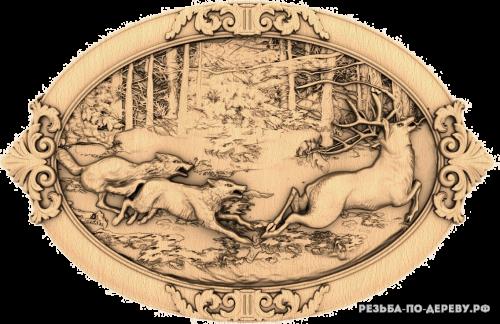 Резное панно Охота на оленя из дерева