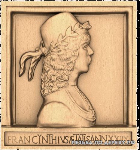 Резное панно Портрет Италия из дерева