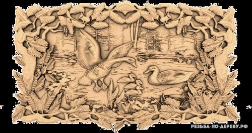 Резное панно Птицы на озере из дерева