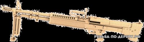 Резное панно Пулемет m60 из дерева