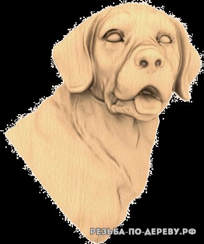 Резное панно Собака №10 из дерева