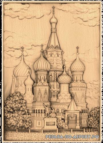 Резное панно Собор Василия Блаженного из дерева