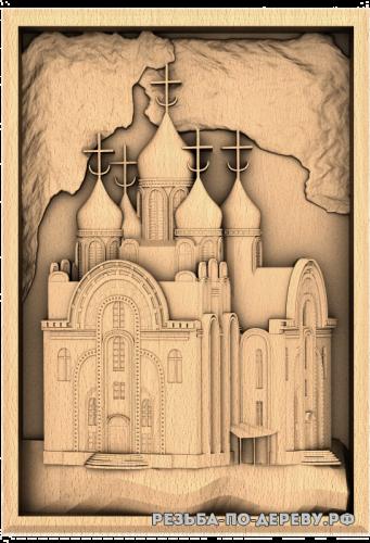 Резное панно Церковь из дерева