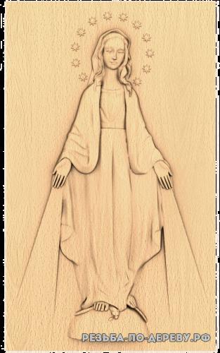 Резная икона Святая Дева Мария из дерева