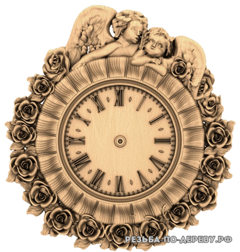 Резные Часы Ангелы