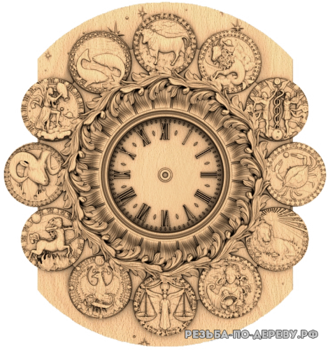 Резные Часы Знаки Зодиака #2