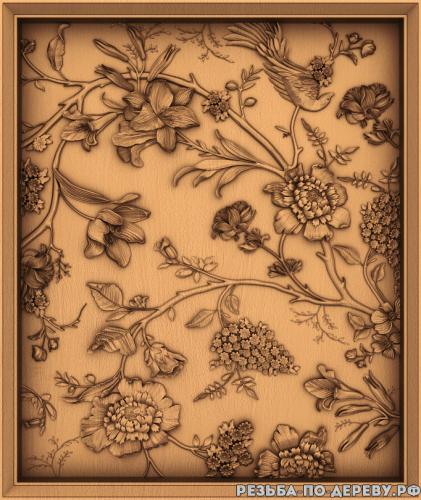 Резное панно Цветы #13