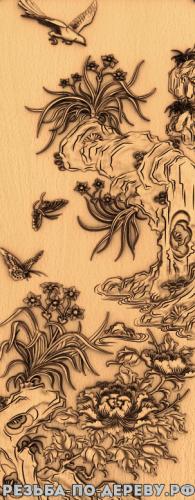 Резное панно Цветы #14