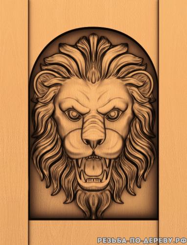 Голова льва #2 из дерева