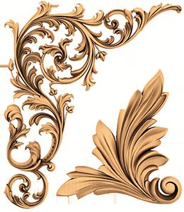 Элемент углового декора из дерева