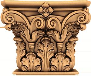 Резная декоративная капитель из дерева