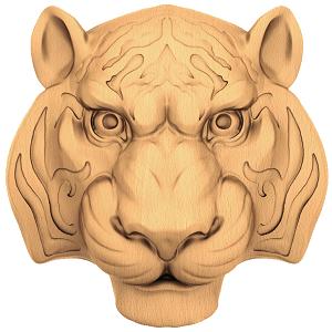 Декоративная голова льва из дерева